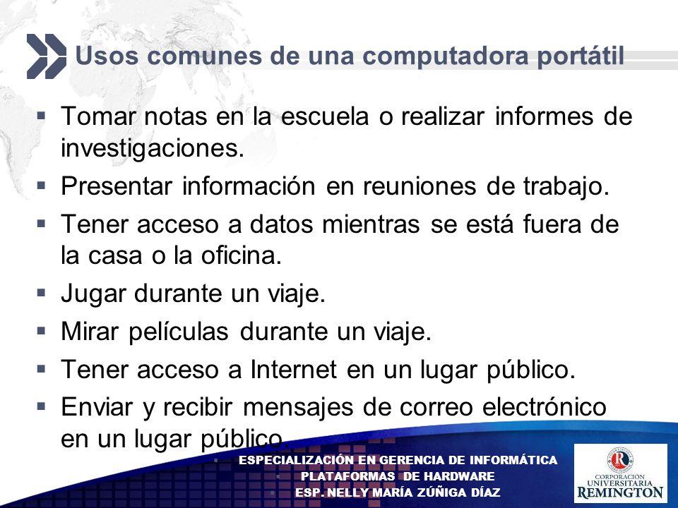 Add your company slogan LOGO Diferencias en la administración de energía Las computadoras portátiles son pequeñas y pueden transportarse.