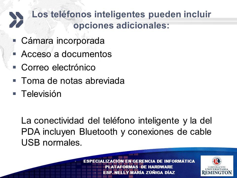 Add your company slogan LOGO Los teléfonos inteligentes pueden incluir opciones adicionales: Cámara incorporada Acceso a documentos Correo electrónico