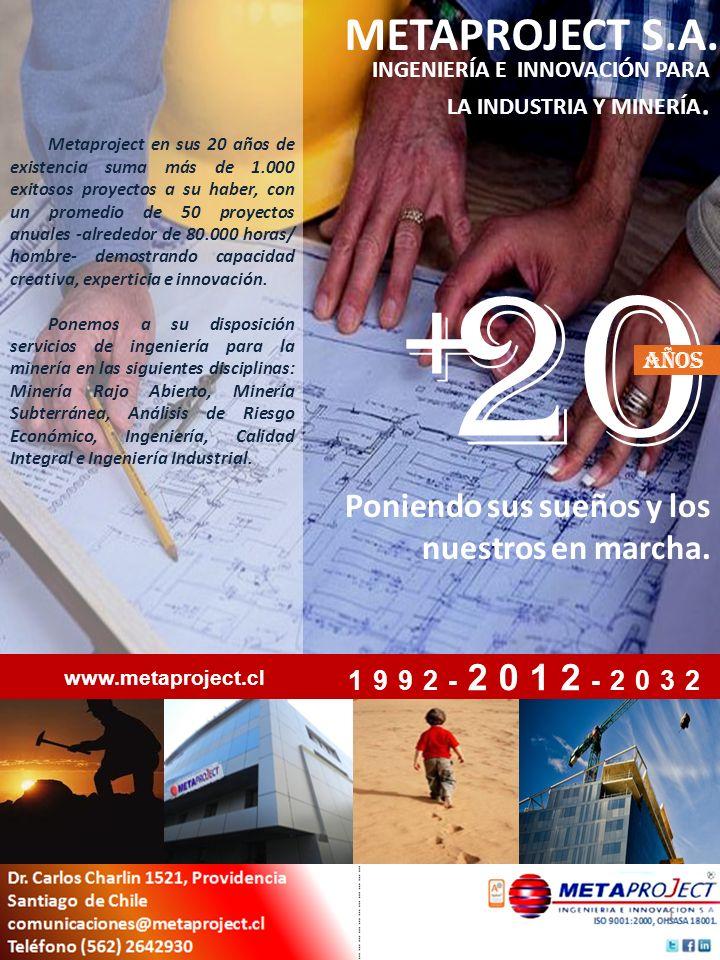 Metaproject en sus 20 años de existencia suma más de 1.000 exitosos proyectos a su haber, con un promedio de 50 proyectos anuales -alrededor de 80.000