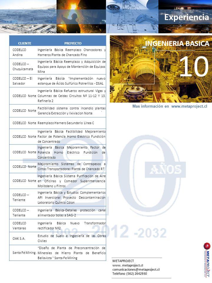 METAPROJECT www. metaproject.cl comunicaciones@metaproject.cl Teléfono (562) 2642930 Experiencia. INGENIERIA BASICA 10 CLIENTEPROYECTO CODELCO Andina