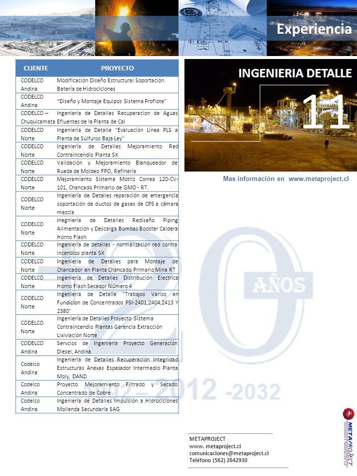 METAPROJECT www. metaproject.cl comunicaciones@metaproject.cl Teléfono (562) 2642930 Experiencia. INGENIERIA DETALLE 11 CLIENTEPROYECTO CODELCO Andina