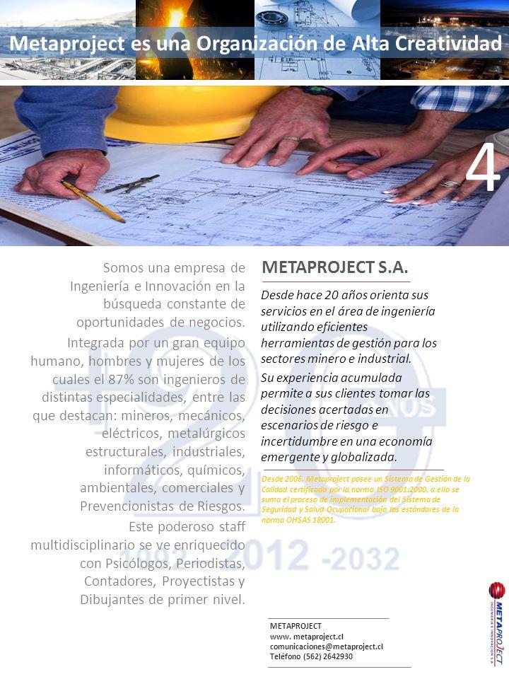 METAPROJECT www. metaproject.cl comunicaciones@metaproject.cl Teléfono (562) 2642930 Desde hace 20 años orienta sus servicios en el área de ingeniería