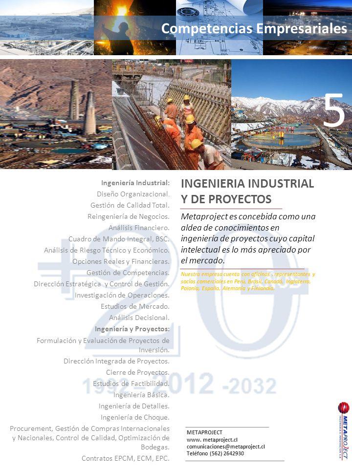 METAPROJECT www. metaproject.cl comunicaciones@metaproject.cl Teléfono (562) 2642930 Competencias Empresariales Ingeniería Industrial: Diseño Organiza