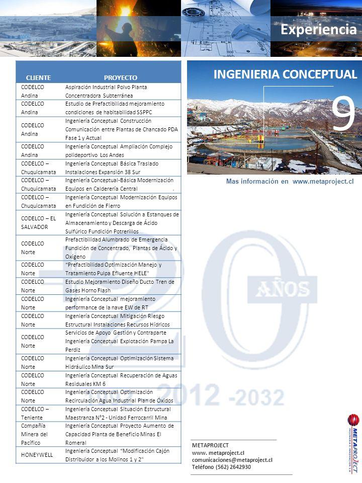 METAPROJECT www. metaproject.cl comunicaciones@metaproject.cl Teléfono (562) 2642930 Experiencia. INGENIERIA CONCEPTUAL 9 CLIENTEPROYECTO CODELCO Andi