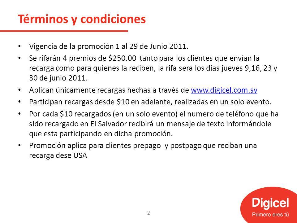 Términos y condiciones Vigencia de la promoción 1 al 29 de Junio 2011.
