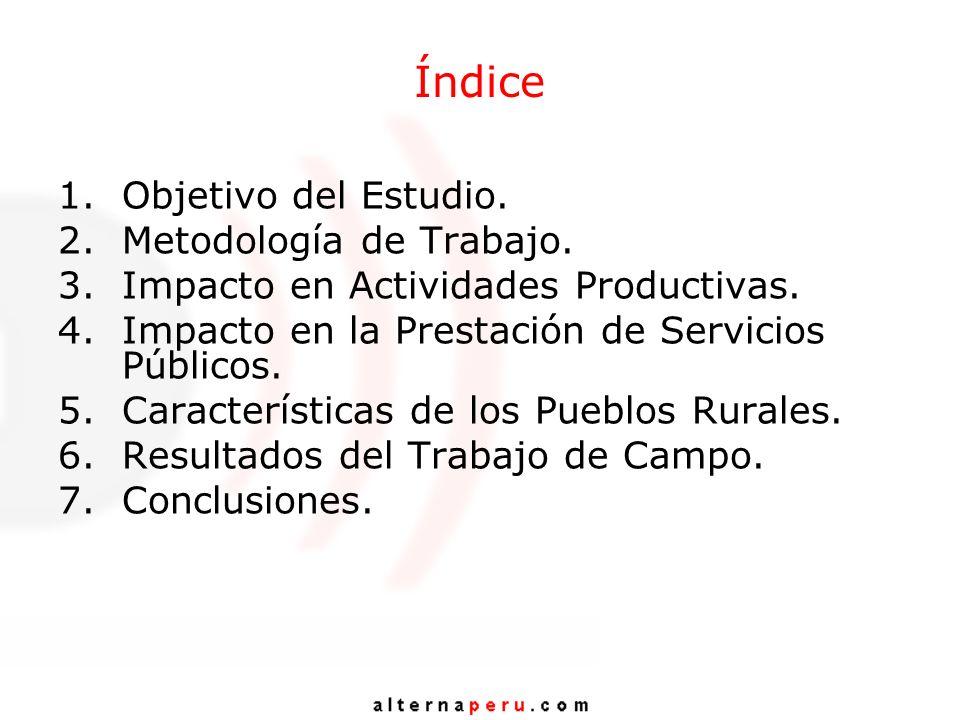 Índice 1.Objetivo del Estudio. 2.Metodología de Trabajo. 3.Impacto en Actividades Productivas. 4.Impacto en la Prestación de Servicios Públicos. 5.Car
