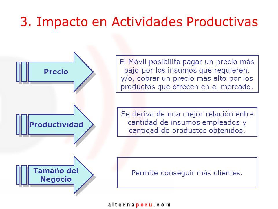 3. Impacto en Actividades Productivas El Móvil posibilita pagar un precio más bajo por los insumos que requieren, y/o, cobrar un precio más alto por l