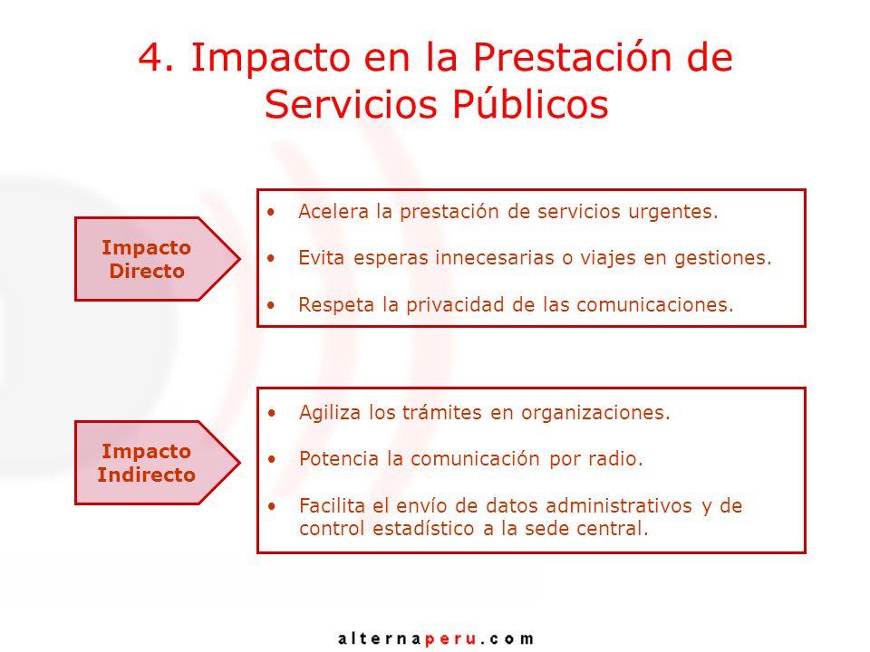 4. Impacto en la Prestación de Servicios Públicos Impacto Directo Acelera la prestación de servicios urgentes. Evita esperas innecesarias o viajes en