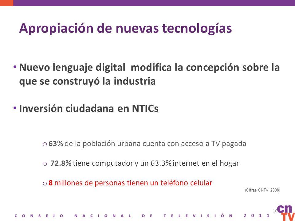 Apropiación de nuevas tecnologías Nuevo lenguaje digital modifica la concepción sobre la que se construyó la industria Inversión ciudadana en NTICs o 63% de la población urbana cuenta con acceso a TV pagada o 72.8% tiene computador y un 63.3% internet en el hogar o 8 millones de personas tienen un teléfono celular (Cifras CNTV 2008) 10