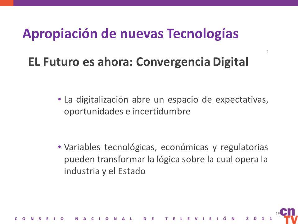 Apropiación de nuevas Tecnologías ) EL Futuro es ahora: Convergencia Digital La digitalización abre un espacio de expectativas, oportunidades e incertidumbre Variables tecnológicas, económicas y regulatorias pueden transformar la lógica sobre la cual opera la industria y el Estado 15