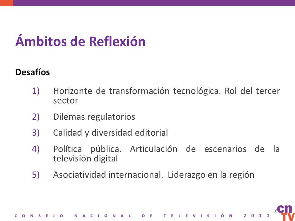 Ámbitos de Reflexión Desafíos 1)Horizonte de transformación tecnológica.