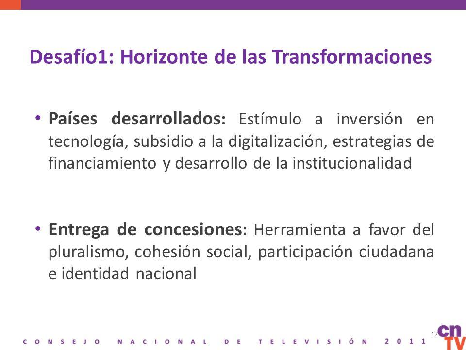 Desafío1: Horizonte de las Transformaciones Países desarrollados : Estímulo a inversión en tecnología, subsidio a la digitalización, estrategias de financiamiento y desarrollo de la institucionalidad Entrega de concesiones : Herramienta a favor del pluralismo, cohesión social, participación ciudadana e identidad nacional 17