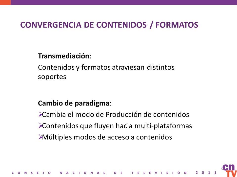 CONVERGENCIA DE CONTENIDOS / FORMATOS 5 Transmediación: Contenidos y formatos atraviesan distintos soportes Cambio de paradigma: Cambia el modo de Producción de contenidos Contenidos que fluyen hacia multi-plataformas Múltiples modos de acceso a contenidos