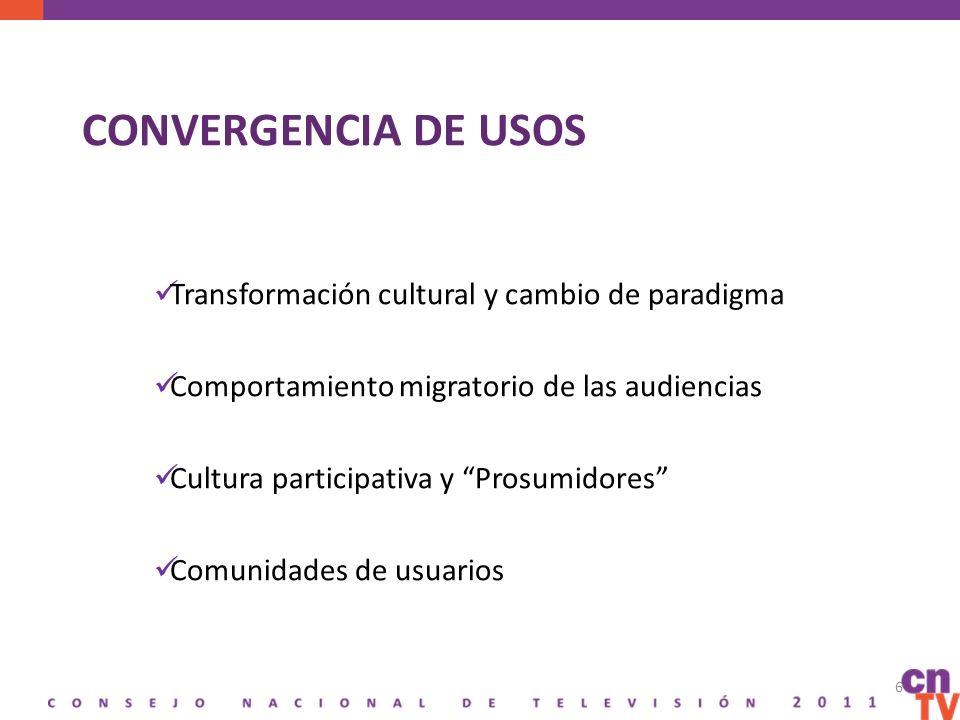CONVERGENCIA DE USOS Transformación cultural y cambio de paradigma Comportamiento migratorio de las audiencias Cultura participativa y Prosumidores Comunidades de usuarios 6