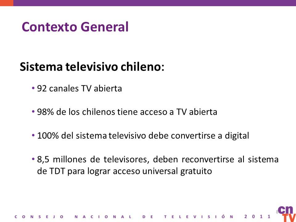 Contexto General Sistema televisivo chileno : 92 canales TV abierta 98% de los chilenos tiene acceso a TV abierta 100% del sistema televisivo debe convertirse a digital 8,5 millones de televisores, deben reconvertirse al sistema de TDT para lograr acceso universal gratuito 8
