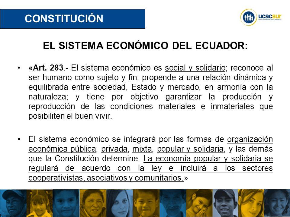 UCACSUR Cuenca: Eugenio Espejo 8-38 y Padre Aguirre Teléfono: 593 7 2838195 WWW.UCACSUR.COOP EL SISTEMA ECONÓMICO DEL ECUADOR: «Art.