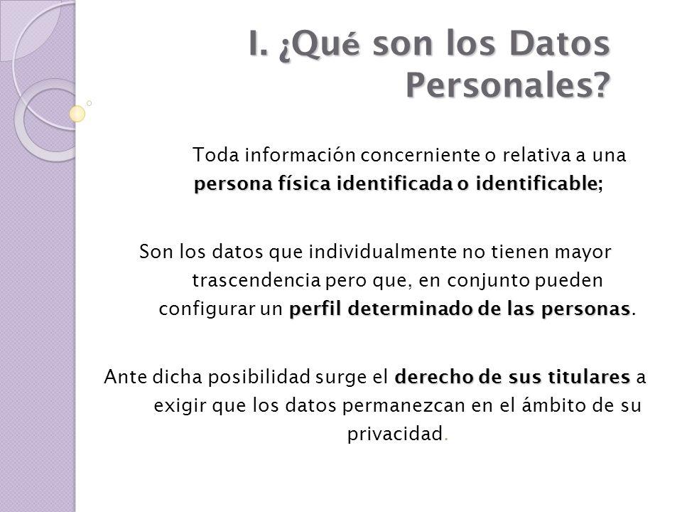 I. ¿ Qu é son los Datos Personales? persona física identificada o identificable Toda información concerniente o relativa a una persona física identifi