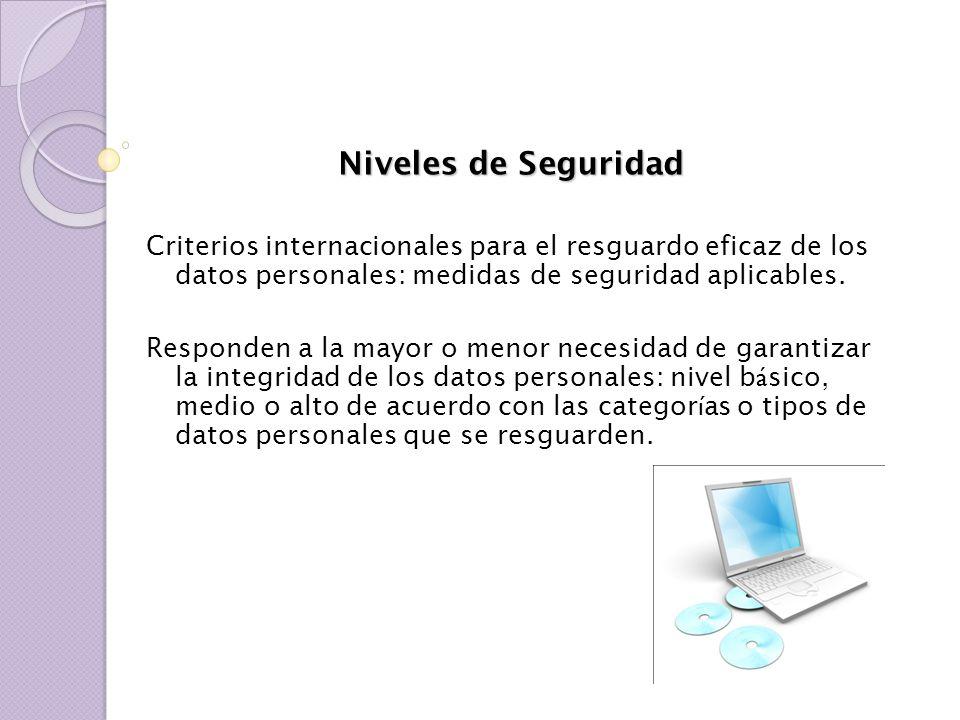 Niveles de Seguridad Criterios internacionales para el resguardo eficaz de los datos personales: medidas de seguridad aplicables. Responden a la mayor