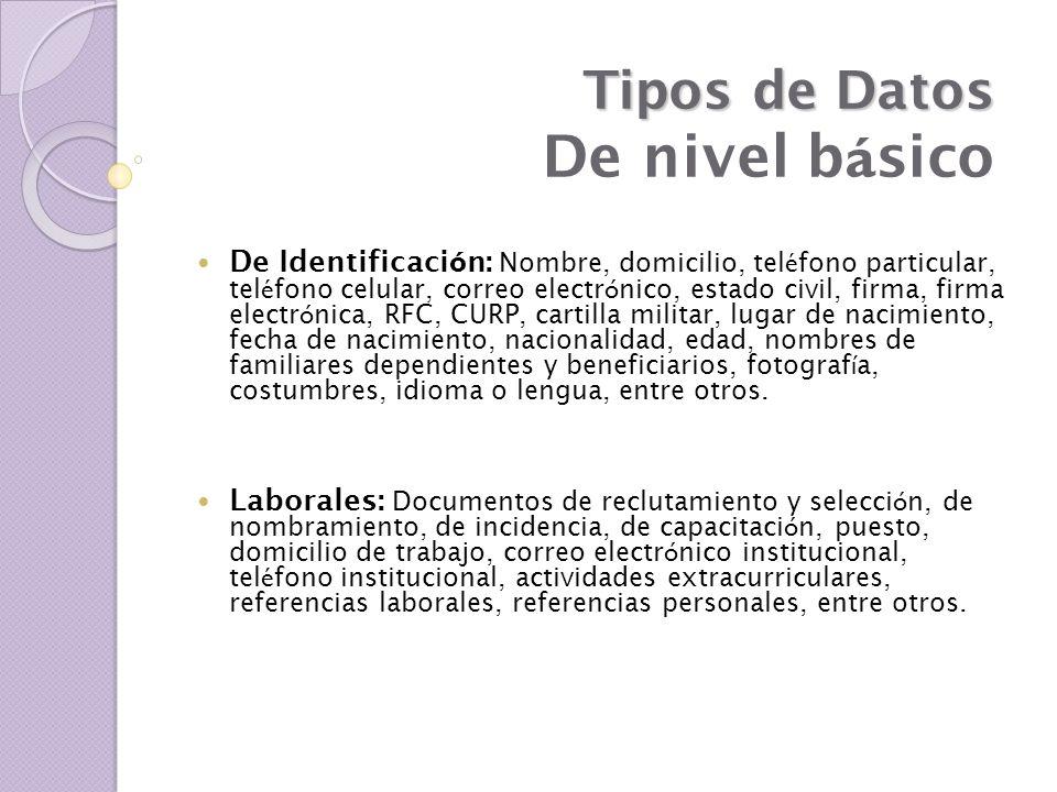 Niveles de Seguridad Criterios internacionales para el resguardo eficaz de los datos personales: medidas de seguridad aplicables.