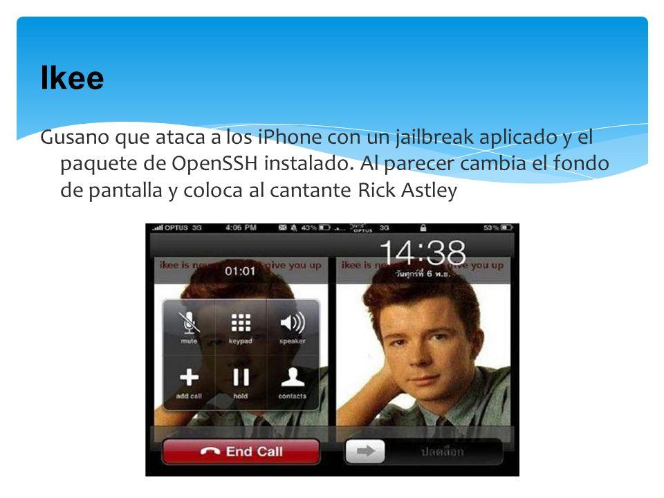Ikee Gusano que ataca a los iPhone con un jailbreak aplicado y el paquete de OpenSSH instalado.