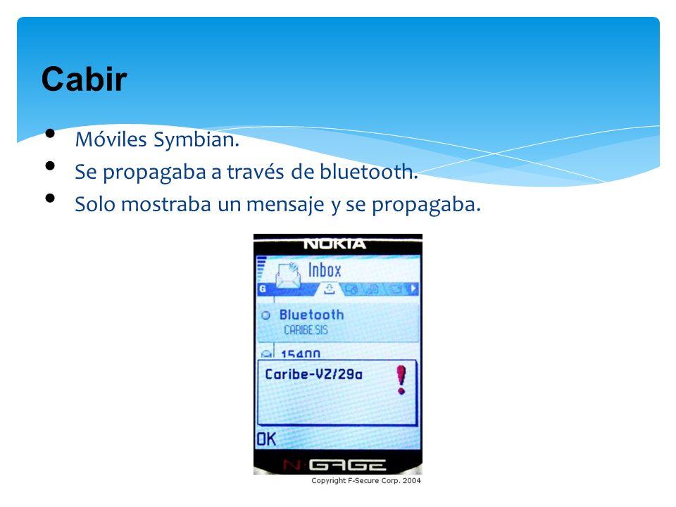 Cabir Móviles Symbian. Se propagaba a través de bluetooth. Solo mostraba un mensaje y se propagaba.