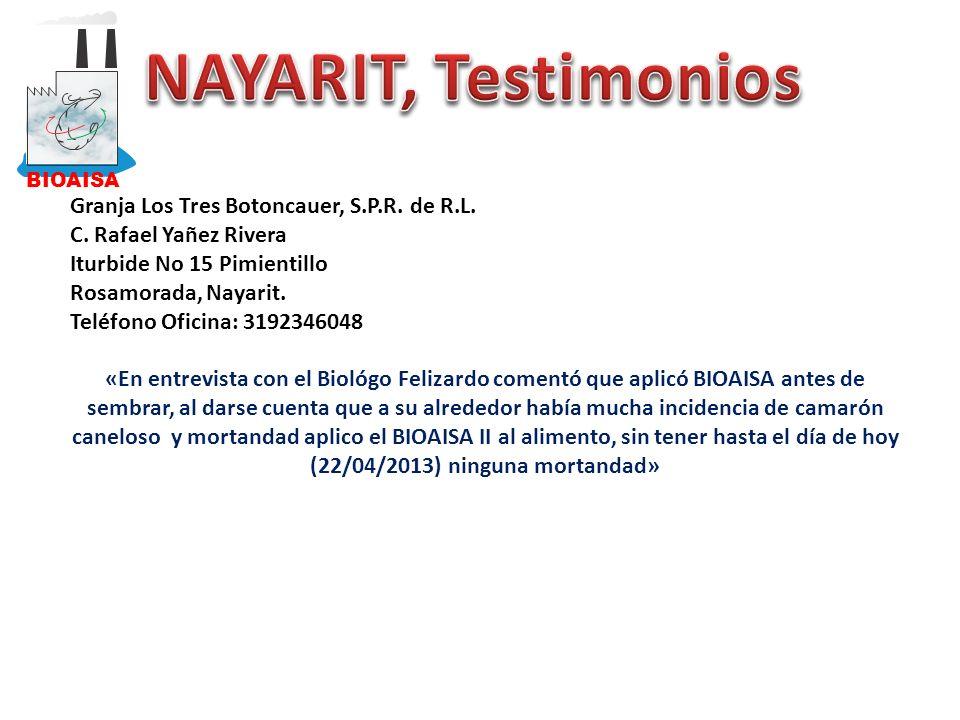 Granja Los Tres Botoncauer, S.P.R. de R.L. C. Rafael Yañez Rivera Iturbide No 15 Pimientillo Rosamorada, Nayarit. Teléfono Oficina: 3192346048 «En ent
