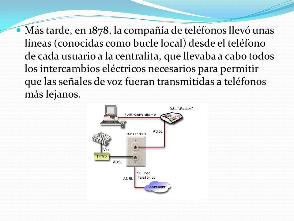 Más tarde, en 1878, la compañía de teléfonos llevó unas líneas (conocidas como bucle local) desde el teléfono de cada usuario a la centralita, que lle