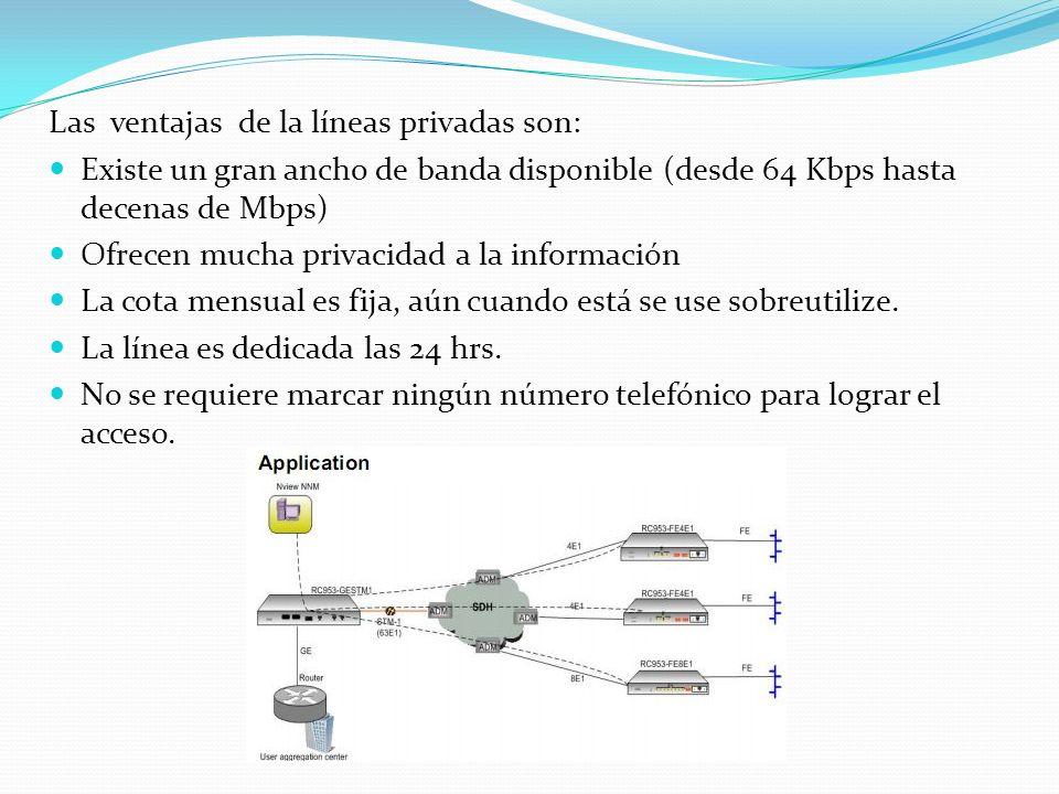 Las ventajas de la líneas privadas son: Existe un gran ancho de banda disponible (desde 64 Kbps hasta decenas de Mbps) Ofrecen mucha privacidad a la i