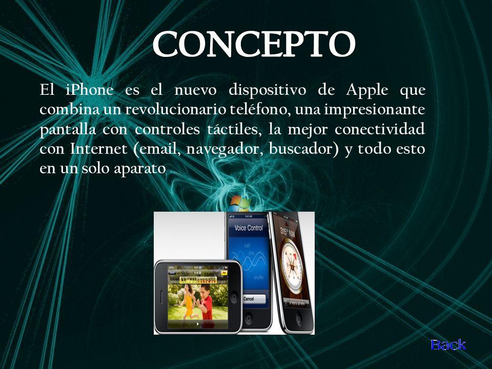 El iPhone es el nuevo dispositivo de Apple que combina un revolucionario teléfono, una impresionante pantalla con controles táctiles, la mejor conectividad con Internet (email, navegador, buscador) y todo esto en un solo aparato