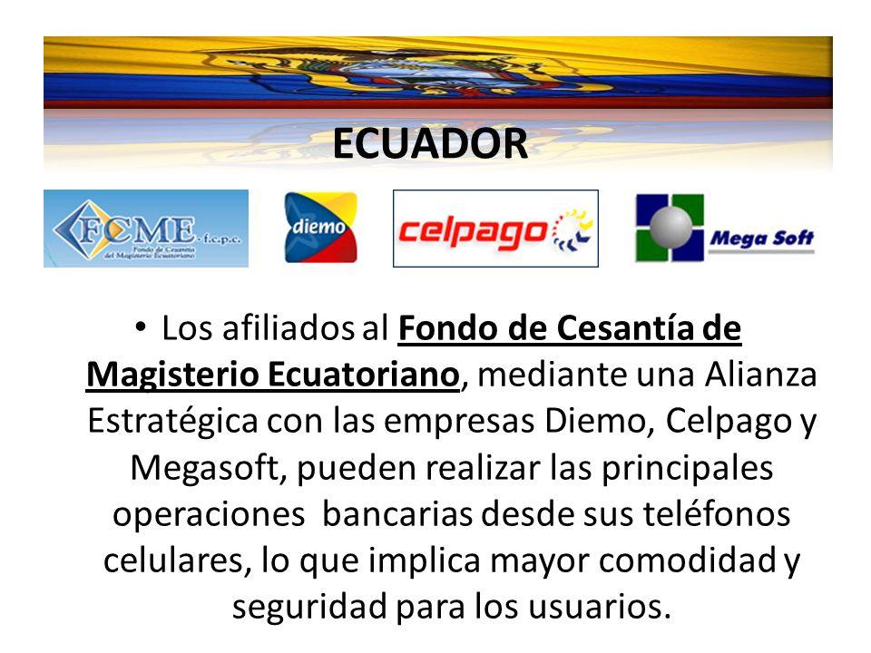 Los afiliados al Fondo de Cesantía de Magisterio Ecuatoriano, mediante una Alianza Estratégica con las empresas Diemo, Celpago y Megasoft, pueden real