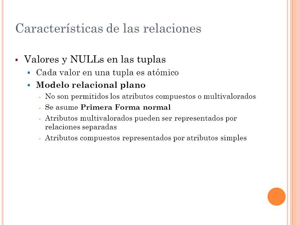 Valores y NULLs en las tuplas Cada valor en una tupla es atómico Modelo relacional plano No son permitidos los atributos compuestos o multivalorados S