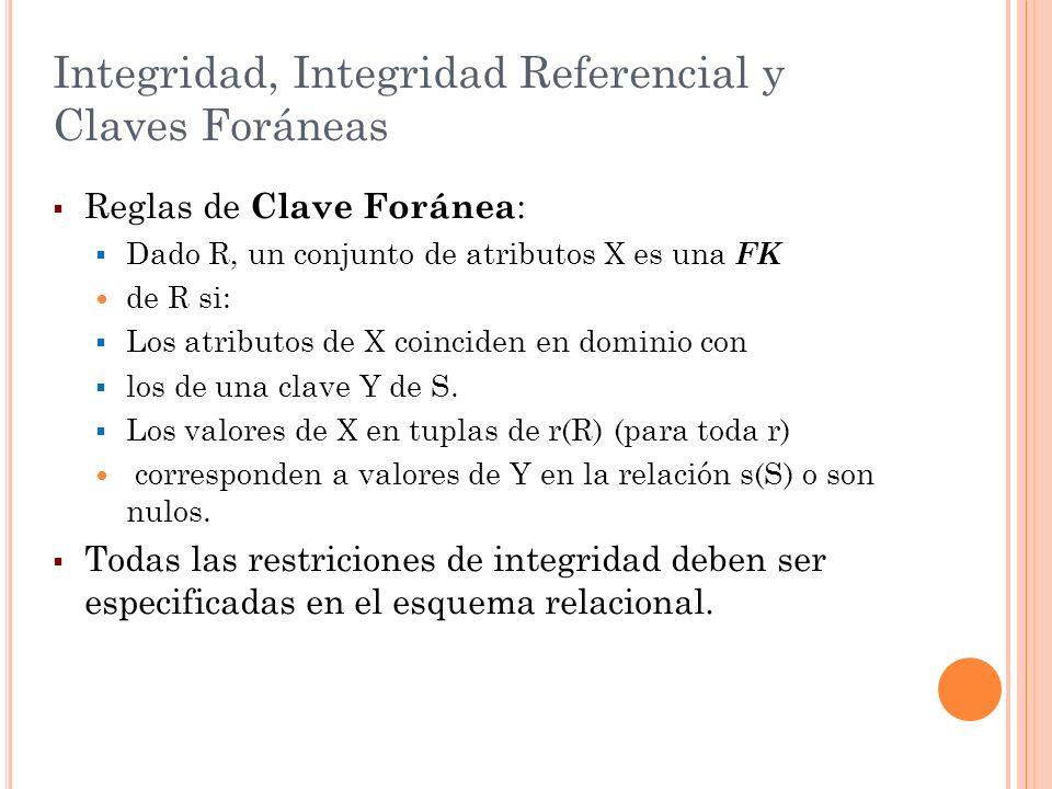 Integridad, Integridad Referencial y Claves Foráneas Reglas de Clave Foránea : Dado R, un conjunto de atributos X es una FK de R si: Los atributos de