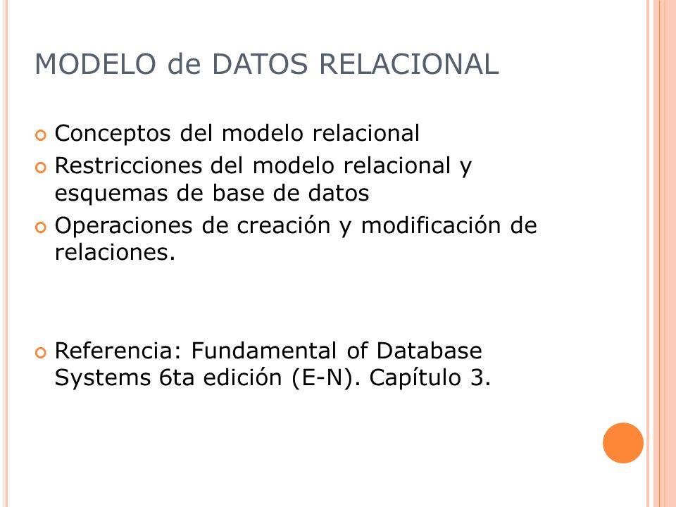 MODELO de DATOS RELACIONAL(2) Modelo Relacional Las primeras implementaciones comerciales estuvieron disponibles a principios de los 1980s Ejemplos de Motores de base de datos relacionales: DB2 e Informix Oracle SQL Server MySql, PostgreSQL