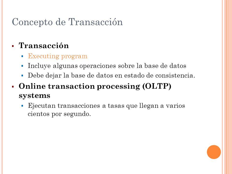 Concepto de Transacción Transacción Executing program Incluye algunas operaciones sobre la base de datos Debe dejar la base de datos en estado de cons