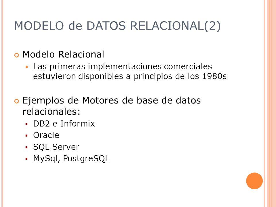 MODELO de DATOS RELACIONAL(2) Modelo Relacional Las primeras implementaciones comerciales estuvieron disponibles a principios de los 1980s Ejemplos de