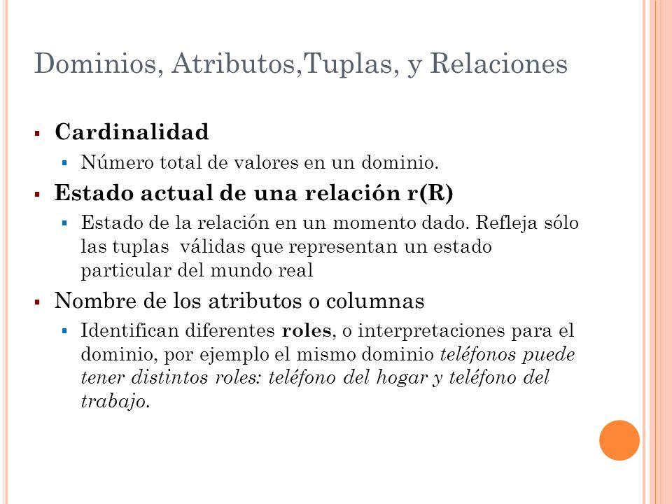 Dominios, Atributos,Tuplas, y Relaciones Cardinalidad Número total de valores en un dominio. Estado actual de una relación r(R) Estado de la relación