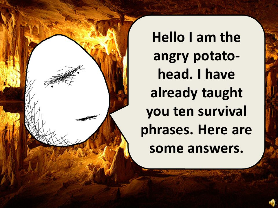 Hello I am the angry potato- head.I have already taught you ten survival phrases.