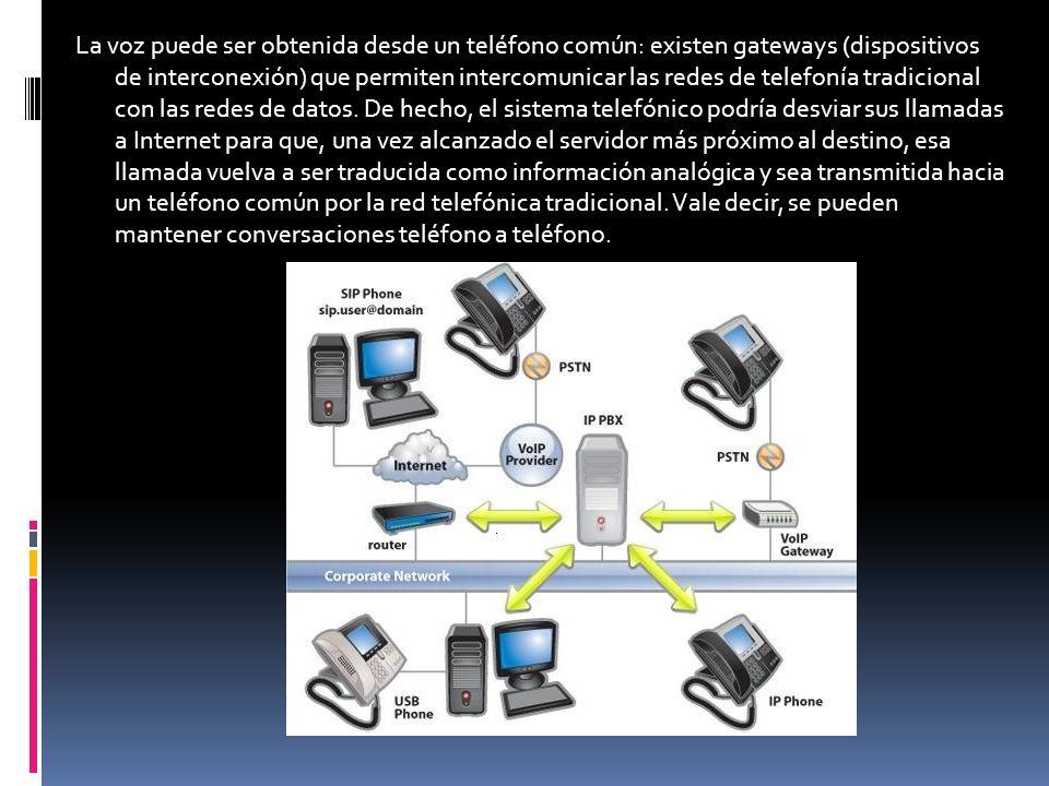 La voz puede ser obtenida desde un teléfono común: existen gateways (dispositivos de interconexión) que permiten intercomunicar las redes de telefonía