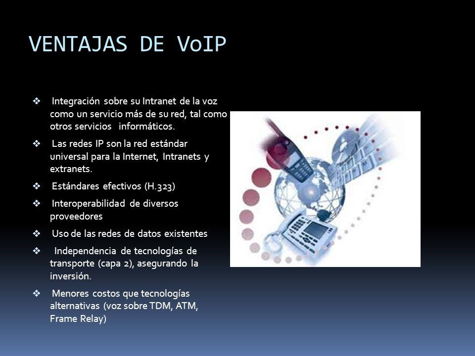 VENTAJAS DE VoIP Integración sobre su Intranet de la voz como un servicio más de su red, tal como otros servicios informáticos. Las redes IP son la re