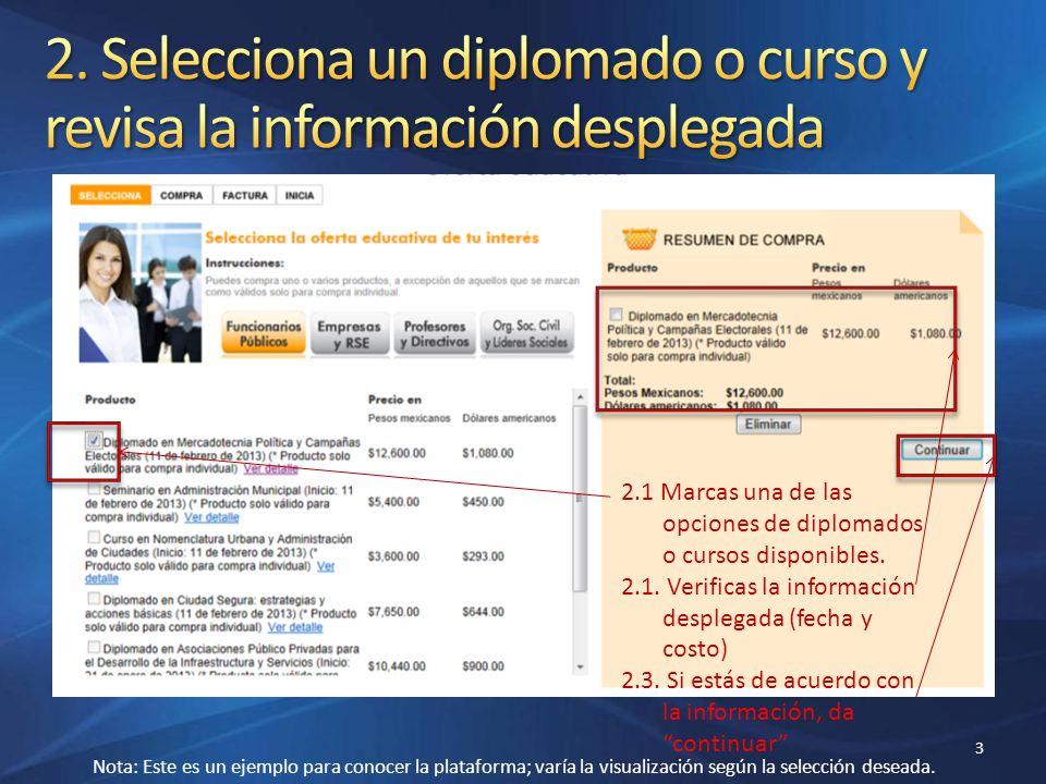 3 2.1 Marcas una de las opciones de diplomados o cursos disponibles. 2.1. Verificas la información desplegada (fecha y costo) 2.3. Si estás de acuerdo