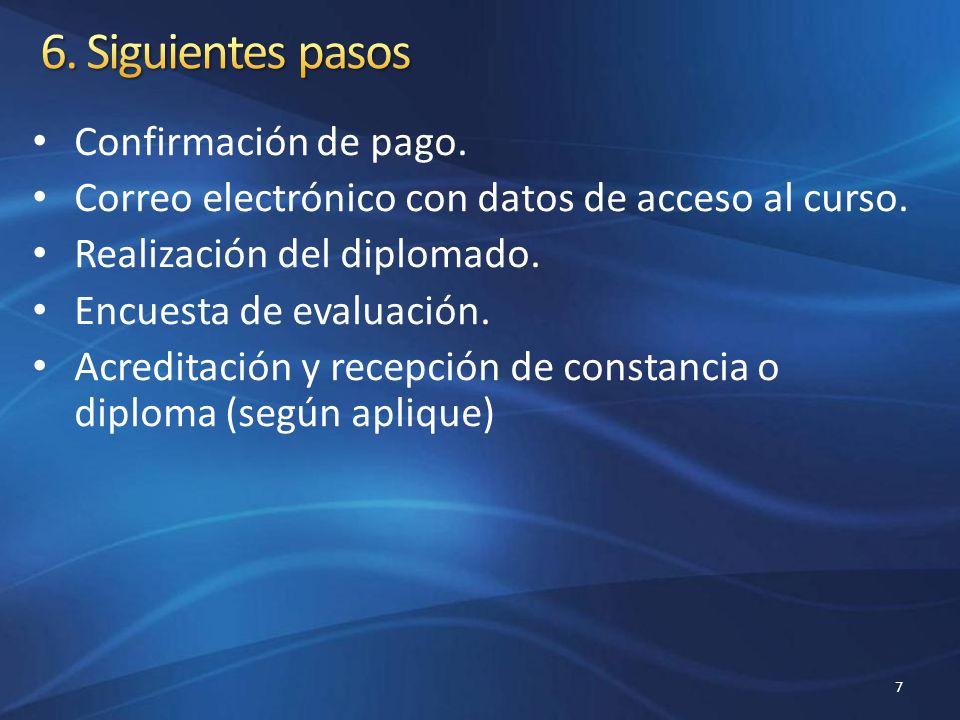 Confirmación de pago. Correo electrónico con datos de acceso al curso. Realización del diplomado. Encuesta de evaluación. Acreditación y recepción de