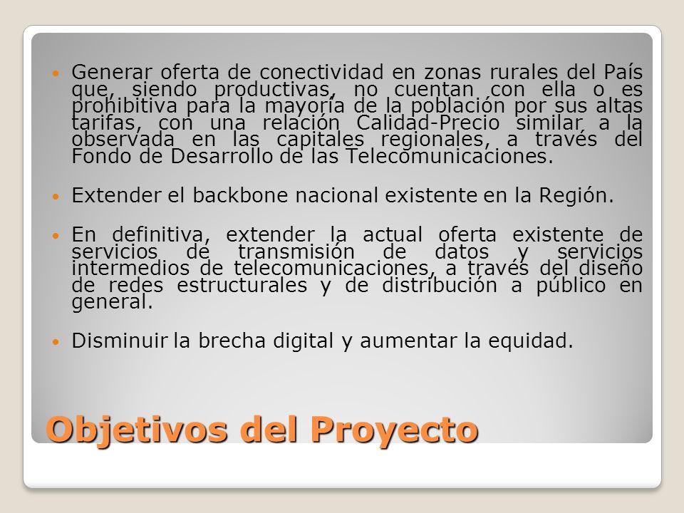 Objetivos del Proyecto Generar oferta de conectividad en zonas rurales del País que, siendo productivas, no cuentan con ella o es prohibitiva para la mayoría de la población por sus altas tarifas, con una relación Calidad-Precio similar a la observada en las capitales regionales, a través del Fondo de Desarrollo de las Telecomunicaciones.