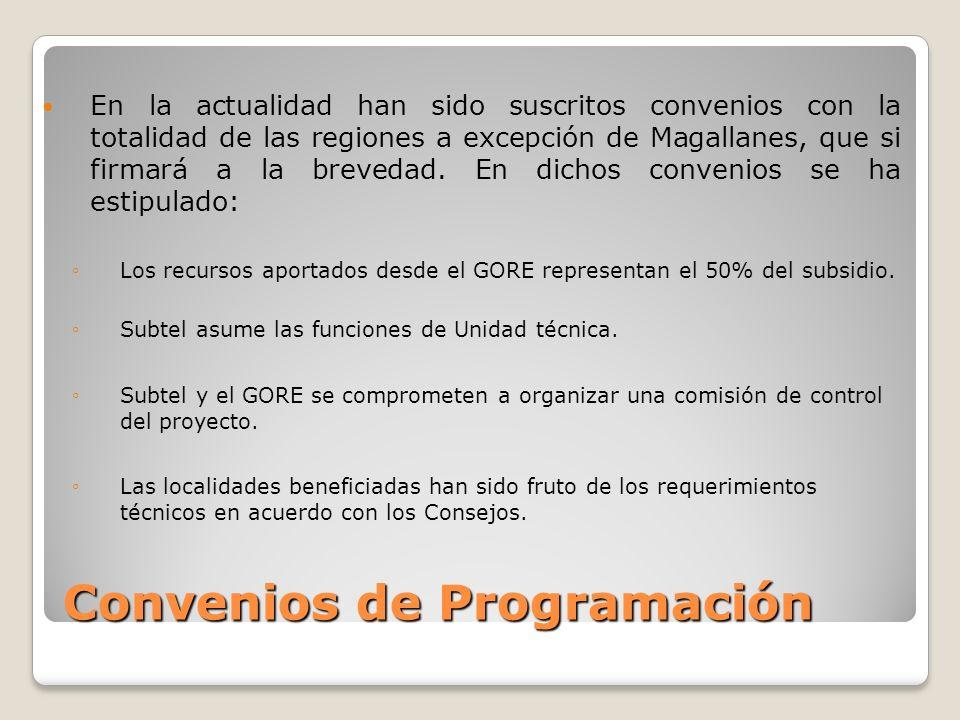 Convenios de Programación En la actualidad han sido suscritos convenios con la totalidad de las regiones a excepción de Magallanes, que si firmará a la brevedad.