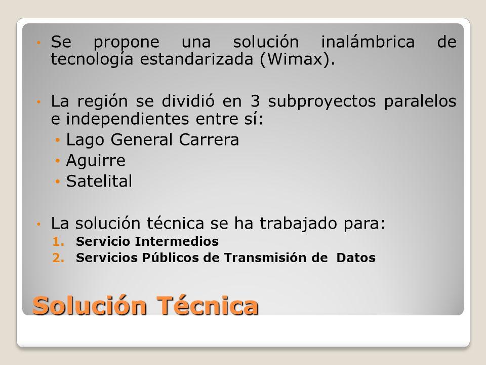 Solución Técnica Se propone una solución inalámbrica de tecnología estandarizada (Wimax).