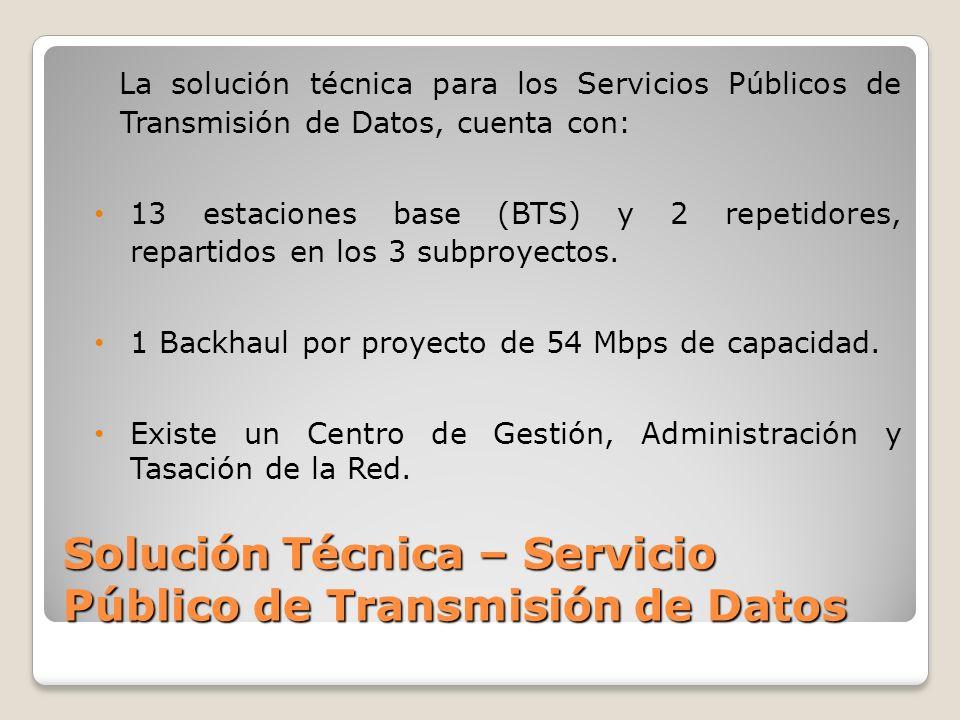 Solución Técnica – Servicio Público de Transmisión de Datos La solución técnica para los Servicios Públicos de Transmisión de Datos, cuenta con: 13 estaciones base (BTS) y 2 repetidores, repartidos en los 3 subproyectos.