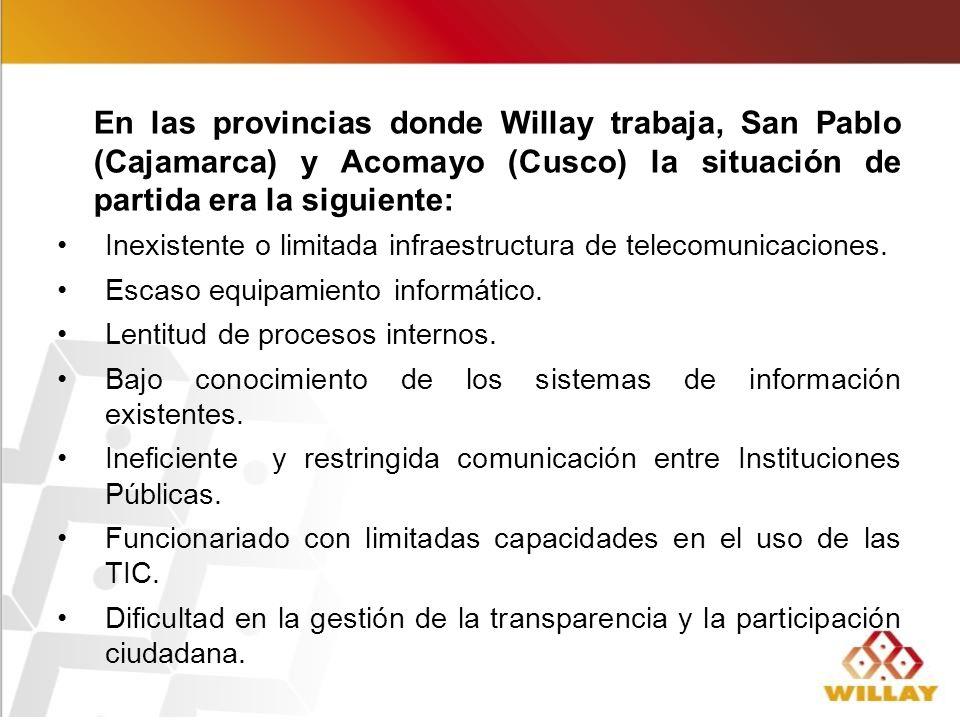 En las provincias donde Willay trabaja, San Pablo (Cajamarca) y Acomayo (Cusco) la situación de partida era la siguiente: Inexistente o limitada infraestructura de telecomunicaciones.