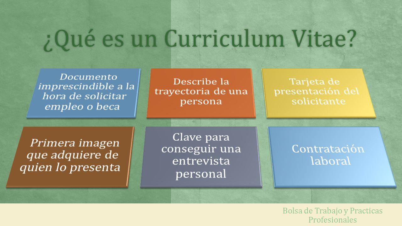 ¿Qué es un Curriculum Vitae?¿Qué es un Curriculum Vitae? Bolsa de Trabajo y Practicas Profesionales