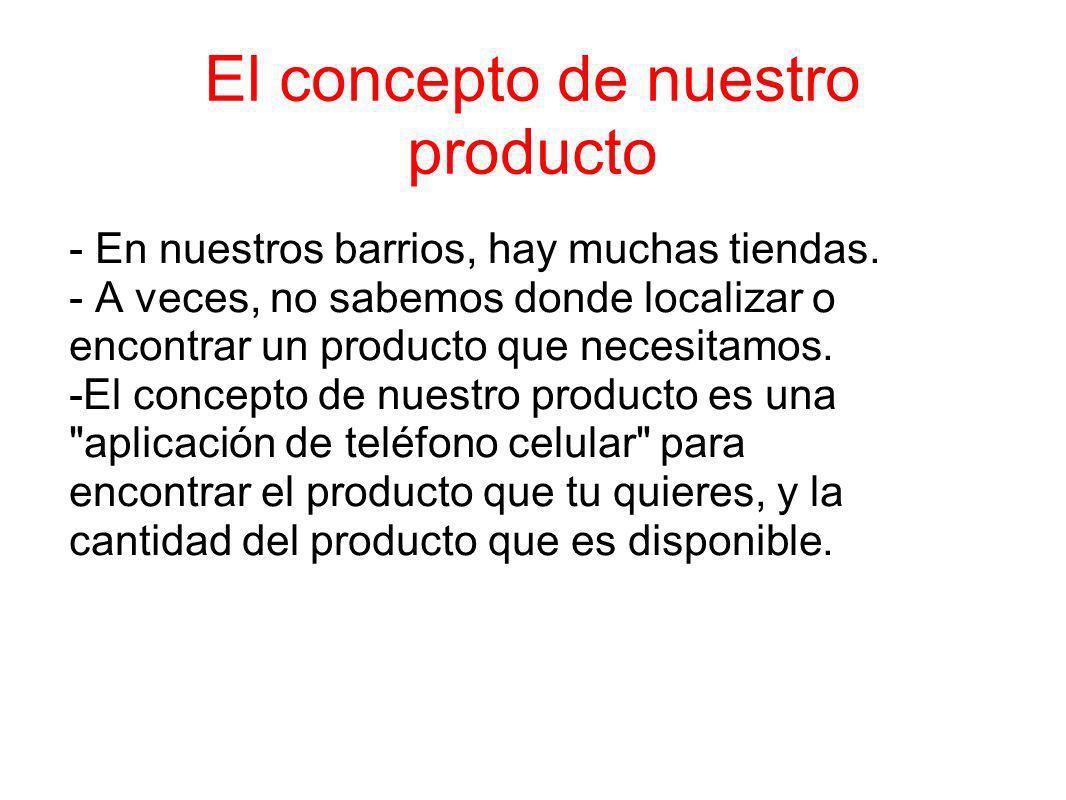 El concepto de nuestro producto - En nuestros barrios, hay muchas tiendas. - A veces, no sabemos donde localizar o encontrar un producto que necesitam