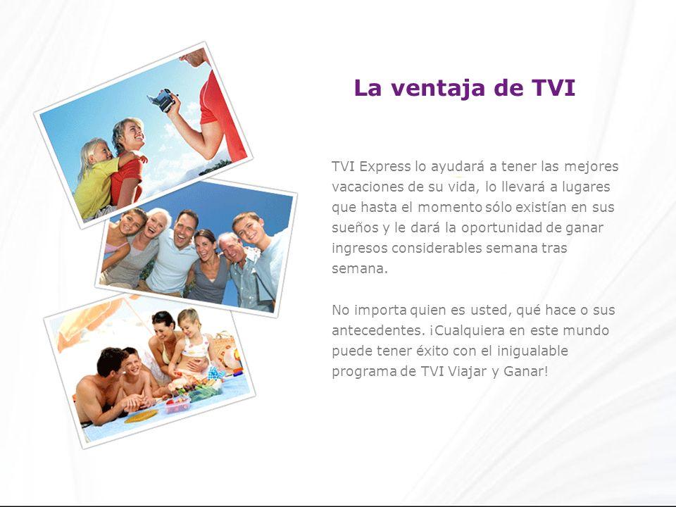 La ventaja de TVI TVI Express lo ayudará a tener las mejores vacaciones de su vida, lo llevará a lugares que hasta el momento sólo existían en sus sueños y le dará la oportunidad de ganar ingresos considerables semana tras semana.
