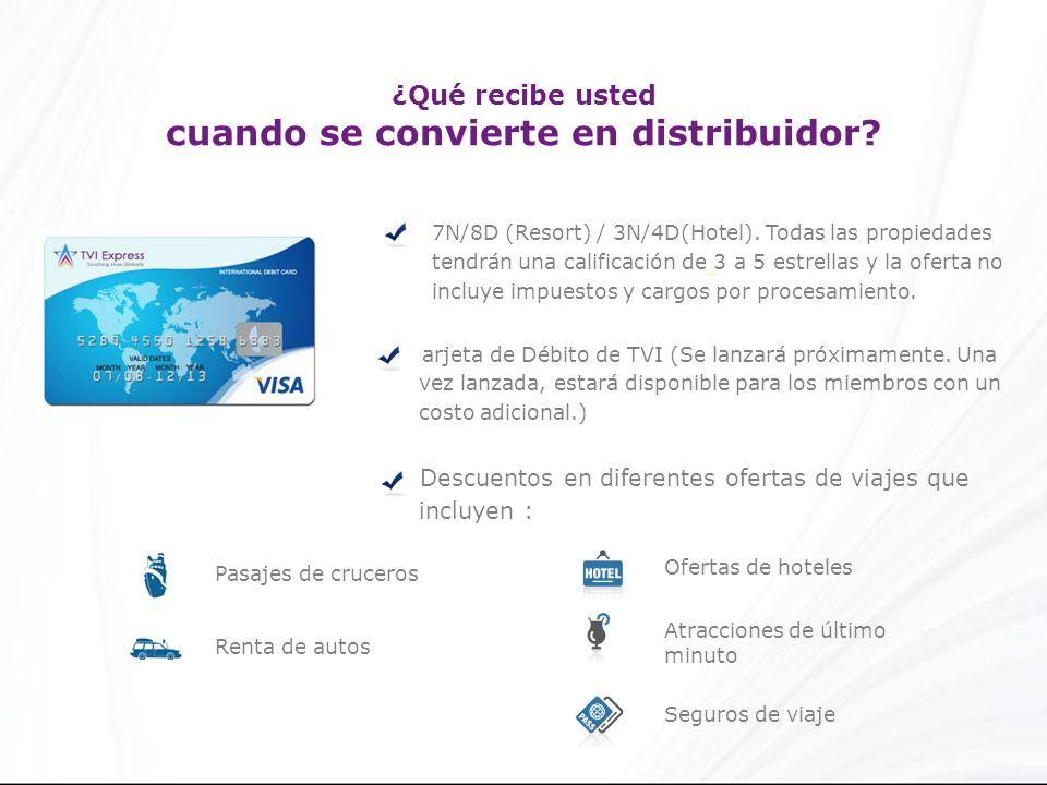 ¿Qué recibe usted cuando se convierte en distribuidor? 7N/8D (Resort) / 3N/4D(Hotel). Todas las propiedades tendrán una calificación de 3 a 5 estrella